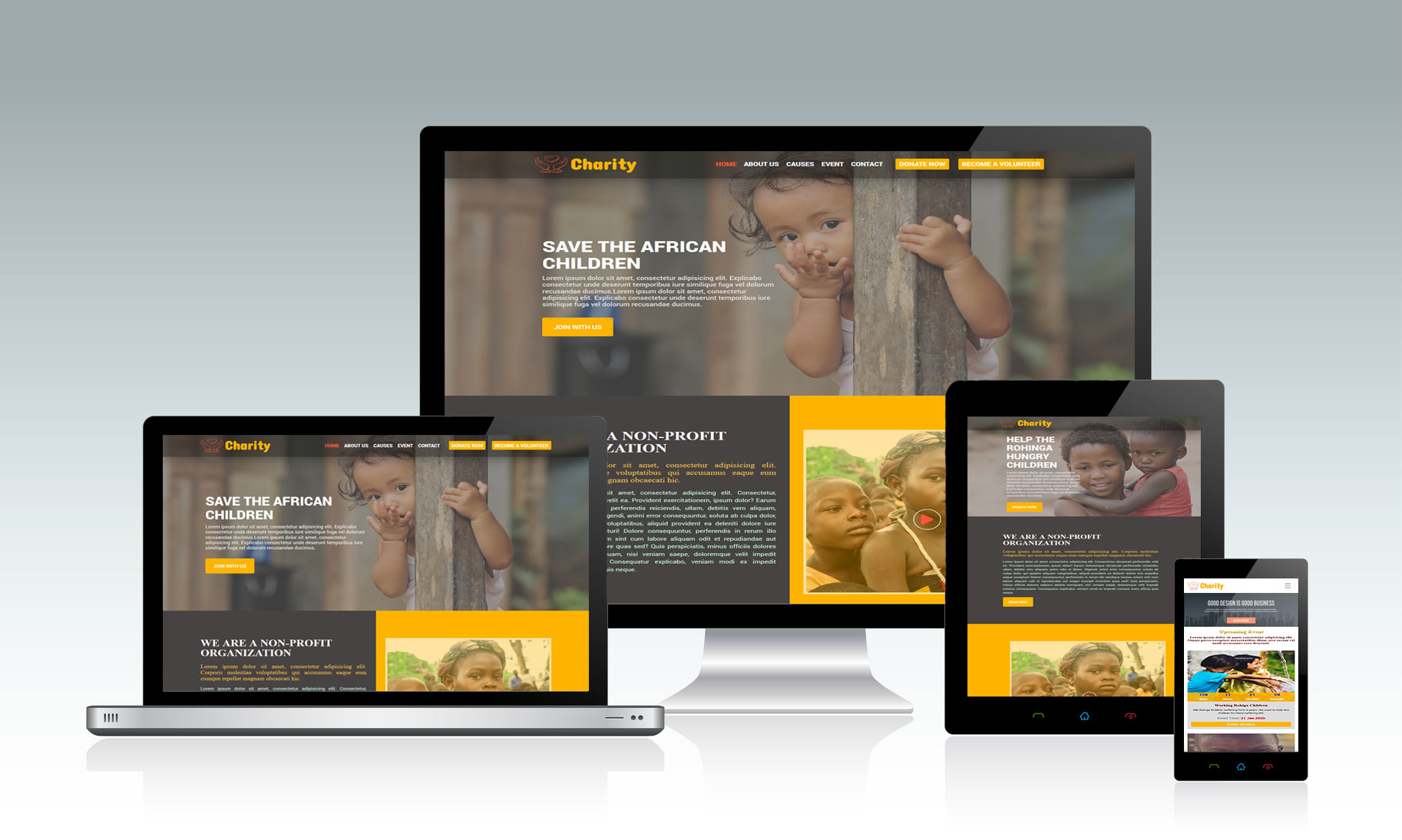 Charity HTMlL website design project- prime it world